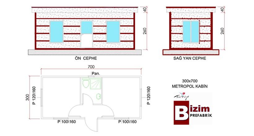 300x700 Metropol Lux Kabin