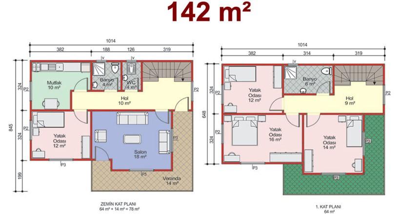 Çift Katlı 142m2 Prefabrik Ev Projeleri