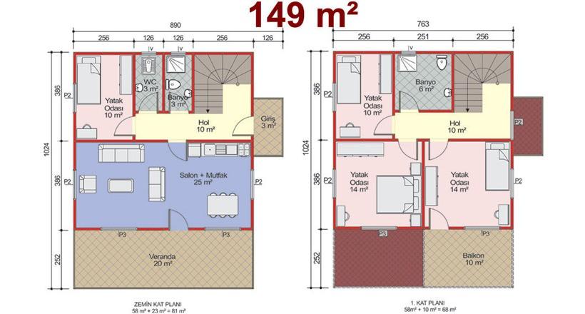 Çift Katlı 149m2 Prefabrik Ev Projeleri