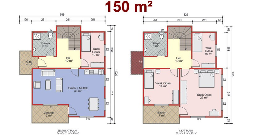 Çift Katlı 150m2 Prefabrik Ev Projeleri