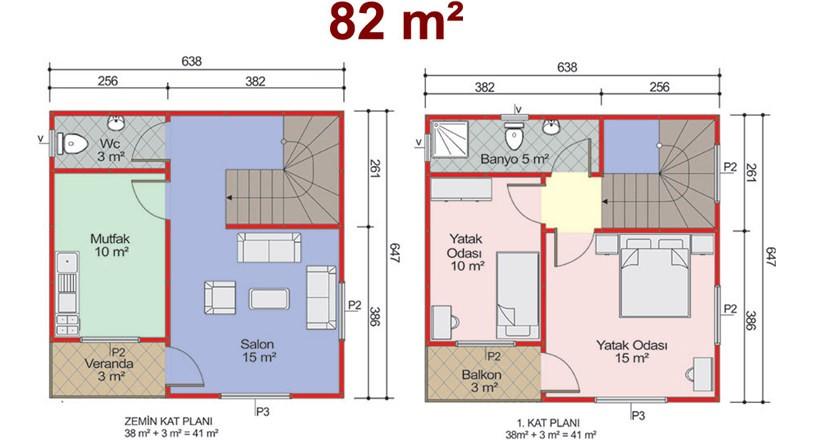 Çift Katlı 82m2 Prefabrik Ev Projeleri