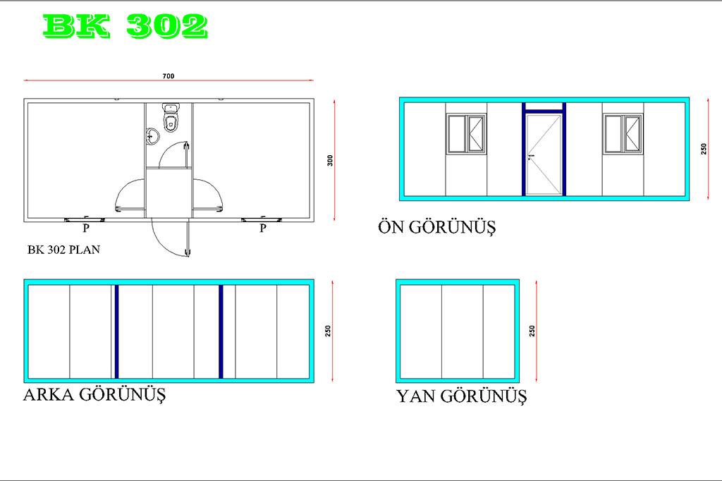BK 302 MODELİ İKİ ODALI WC ,LAVABOLU MODEL OFİS KULLANIMI