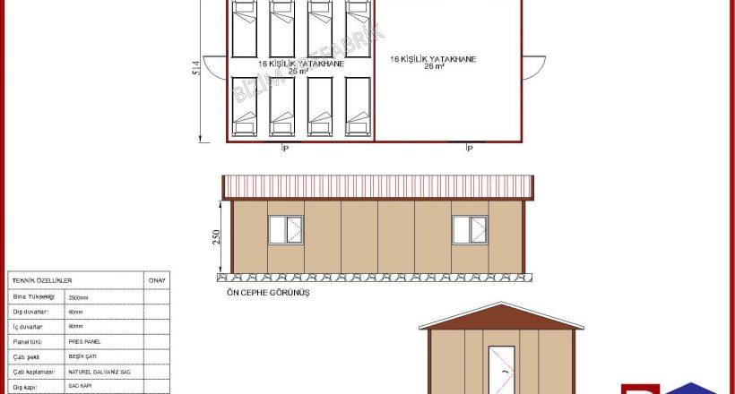 prefabrik yatakhane projeleri bzm 105