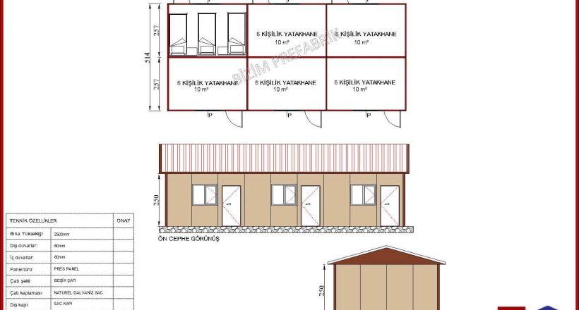 prefabrik yatakhane projeleri bzm 106