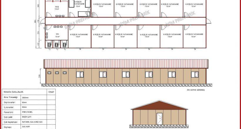 prefabrik yatakhane projeleri bzm 107