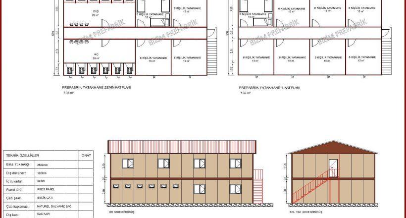 prefabrik yatakhane projeleri bzm 108