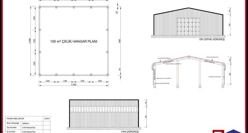 Çelik Yapı Hangar Projeleri 100m2