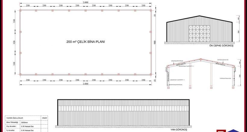 Çelik Yapı Hangar Projeleri 200m2