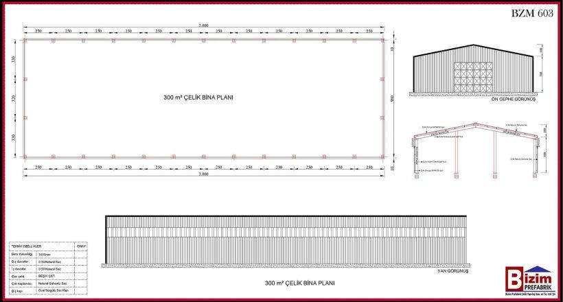 Çelik Yapı Hangar Projeleri 300m2