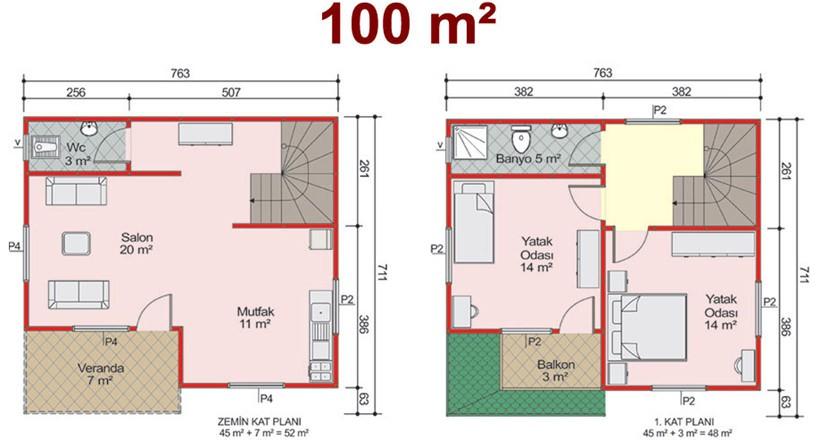 Çift Katlı 100m2 Prefabrik Ev Projeleri