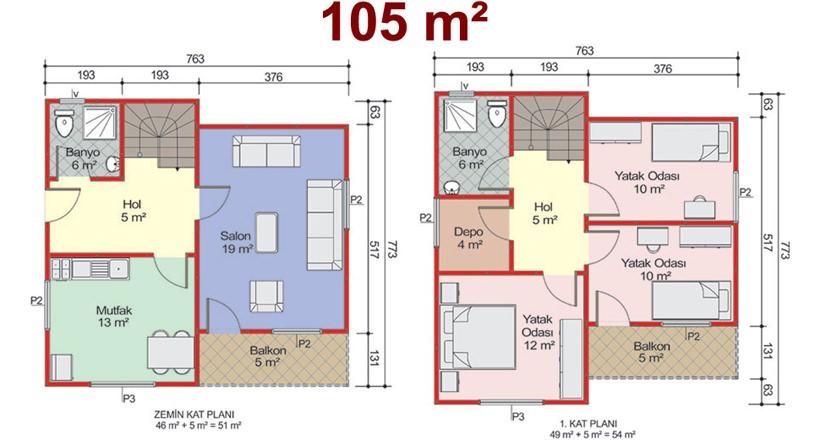 Çift Katlı 105m2 Prefabrik Ev Projeleri