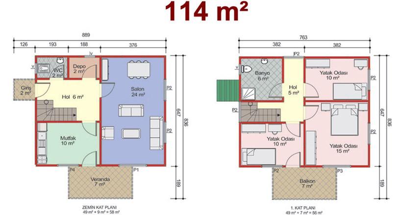 Çift Katlı 114m2 Prefabrik Ev Projeleri