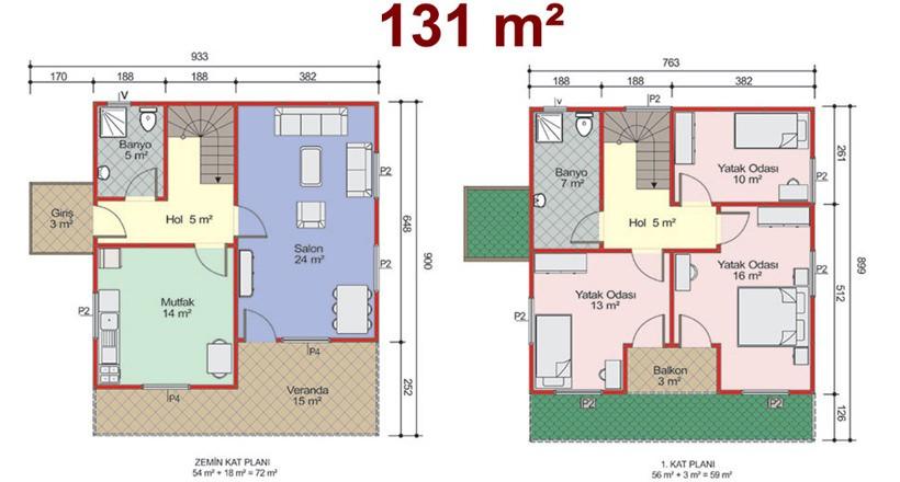 Çift Katlı 131m2 Prefabrik Ev Projeleri