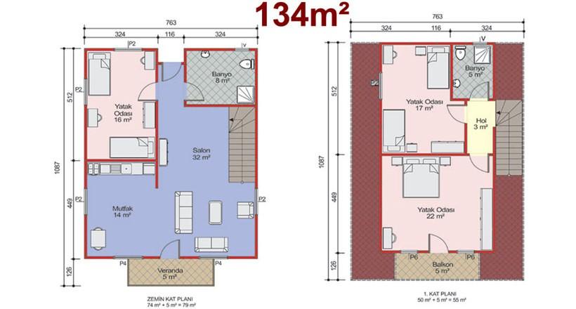 Çift Katlı 134m2 Prefabrik Ev Projeleri
