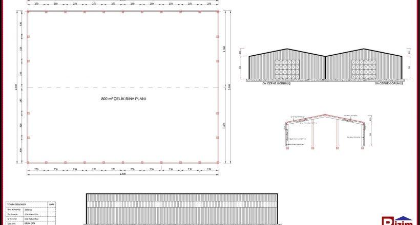 Çelik Yapı Hangar Projeleri 500m2